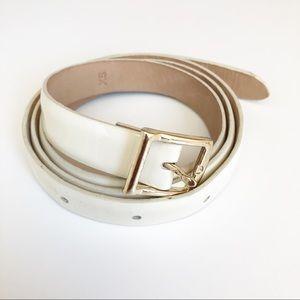J. CREW Patent Leather White Belt SZ XS